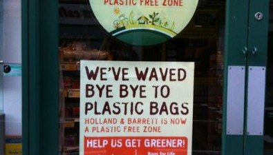 Changing the world, one plastic bag at a time. Holland & Barrett healthfood store in London bans the bag
