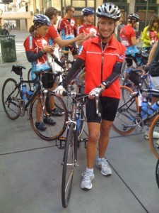 Roz at the start of the Climate Ride - outside CBS in New York