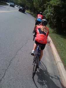 Pedal power - Roz en route from NYC to Princeton