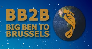 Our draft logo for BB2B, although likely to end up with two feet on the Earth. Two feet definitely better than one!