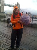 Caption: Laura with Earth Ball (NOT the one that escaped) in front of Tower Bridge