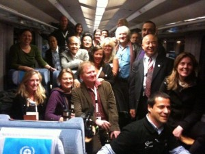 Photo opp in the UNEP carriage of the Climate Express. I'm bottom right, next to Franny Armstrong and in front of Lizzie Gillett of Age of Stupid. Alison Gannett with the dark hair, in the middle. Nora McDevitt, filmmaker, on far right.