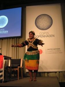 An I-Kiribati dancer cheering up the proceedings