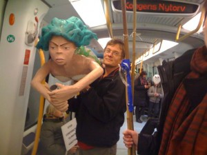 Here's something you don't see every day. The Angry Mermaid travels home by Metro last night.