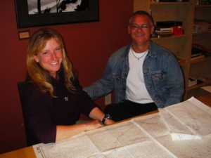 Me with Mick Bird in 2007, poring over charts in Dog River Coffee, Hood River