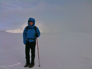 Field testing a Marmot jacket in a white-out